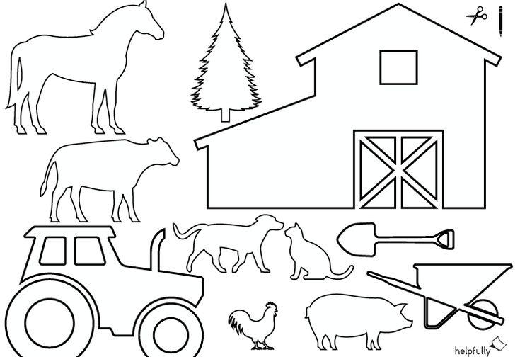 """ausmalbild """"bauernhof traktor  tiere"""" zum ausschneiden"""
