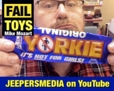 Imagine The Nestle Corporation Marketing a Candy Bar like this is the USA? The Yorky Bar is actually Made from Ground Up Yorkshire Terrier Puppies! LOL . . Not Really . . It's just Thich Chocolate.    It's a Campaign they have run for YEARS in the England!  Watch this REAL TV Ad for Yorkie Bars ( Not My Video)  http://www.youtube.com/watch?v=LH2pLzdeCP0    Mike Mozart of JeepersMedia on YouTube  http://www.youtube.com/user/jeepersmedia/videos