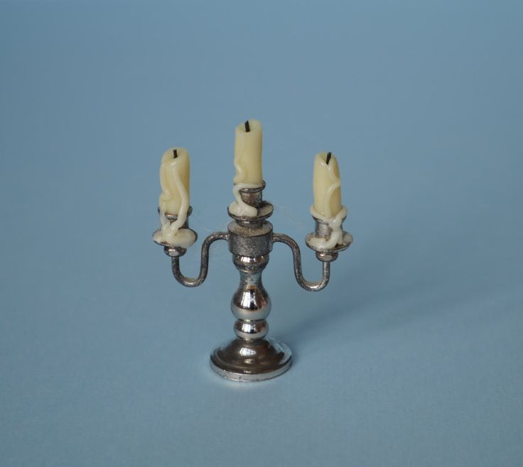 Silver Candelabra with Beeswax White Dripping Church Candles - Dust and Cobwebs - 1:12 or 1/12 Scale Dollhouse Miniature for Witch/ Wizard by TinytownMiniatures on Etsy https://www.etsy.com/listing/254814169/silver-candelabra-with-beeswax-white
