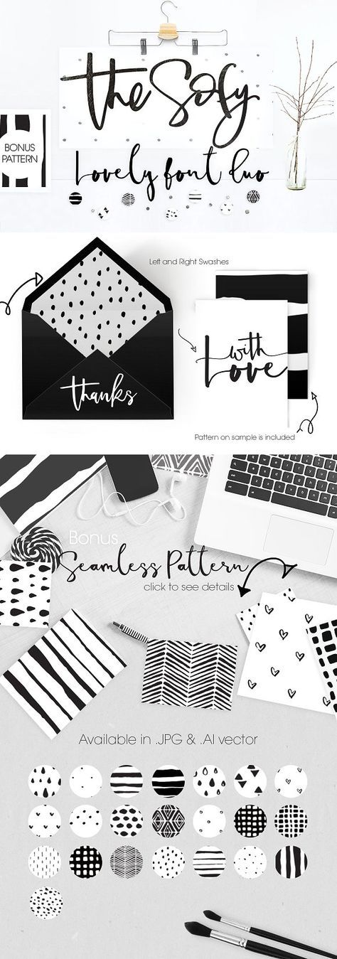 The Sofy Font Duo +Pattern+Freebie by mycandythemes on @creativemarket [affiliate]