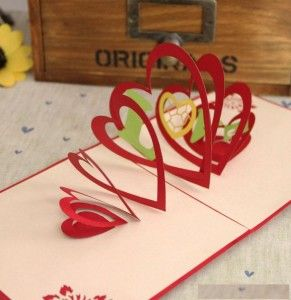 3D stereo handmade heart pop up wedding wishing card
