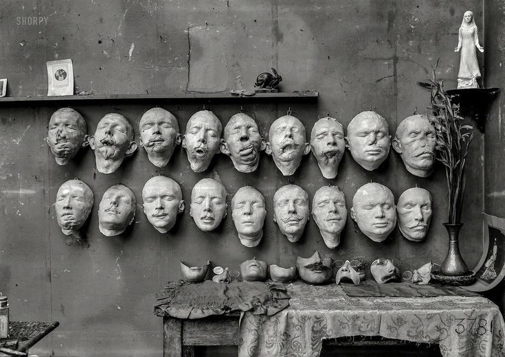 """federer7:  """"  August 1918. """"Mutiles. Paris, France. Masks showing different stages in the work done by Mrs. Anna Coleman Ladd of the American Red Cross for soldiers whose faces have been mutilated in the war. The upper row shows casts taken from the..."""