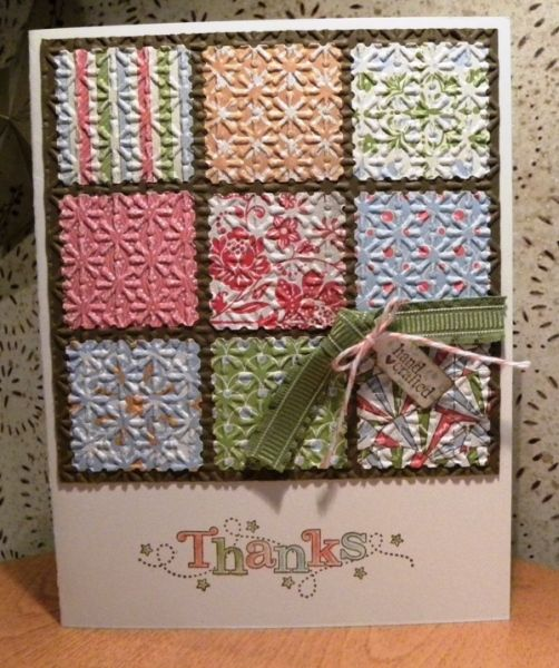glue smaller squares onto larger square, then emboss all. Need to try 9 different emboss on individual squares for another look.: Embossing Cards, Joan Gross, Cards Ideas, Quilts Cards, Stampin Up, Neat Ideas, Patchwork Cards, Faux Quilts, Thanks You Cards