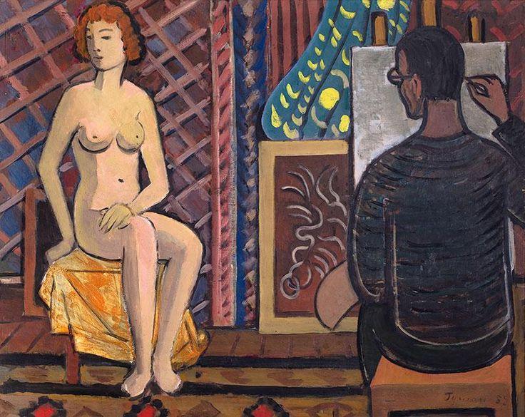 Tymon Niesiołowski: Malarz i modelka, 1957 r. olej, płótno, 65 × 81 cm sygn. i dat. p. d.: Tymon 57