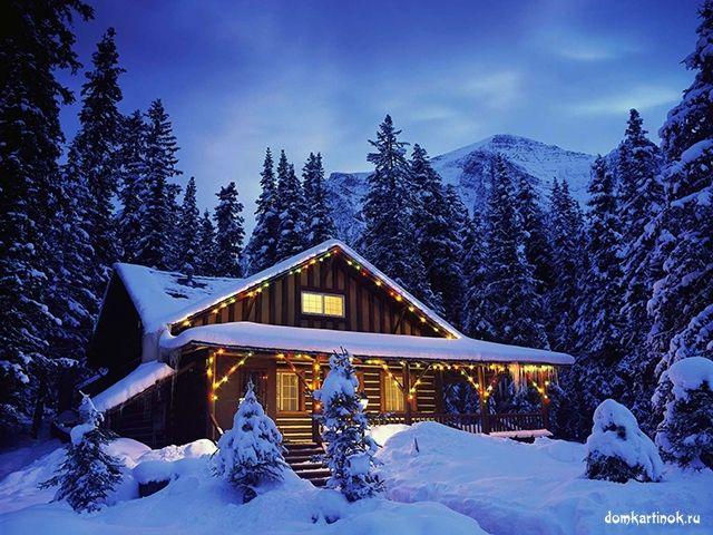 Зимний дом в лесу с новогодними гирляндами, красивая картинка с кодами