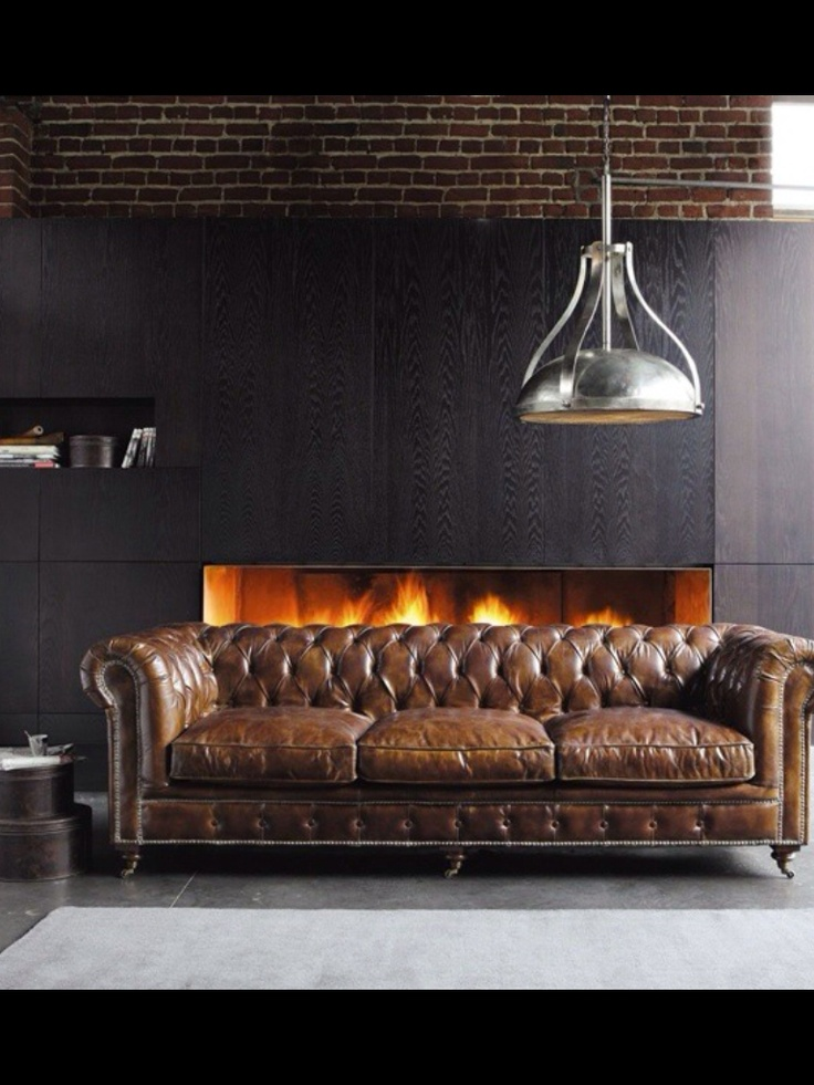 Vintage Chesterfield Sofa, Dark Charcoal Walls, and Industrial Oversize Lighting make this a Handsome Room.