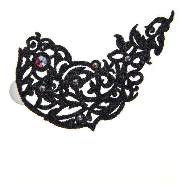 Black Lace Skin Jewelry Flirtatious Body Jewelry (215 SEK) ❤ liked on Polyvore featuring jewelry, body jewellery, swarovski crystal jewelry, cut out jewelry, body sparkle jewelry and sparkle jewelry