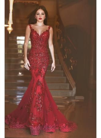 USD$209.00 -  Glamorous Red Mermaid Sequins Prom Dress 2016 Appliques Sweep Train - www.27dress.com