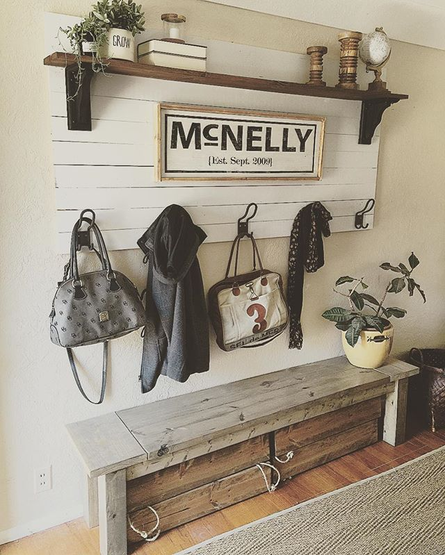 Rustic Entryway With Hooks, Shelf And Bench. Old Sign And Reclaimed Wood.