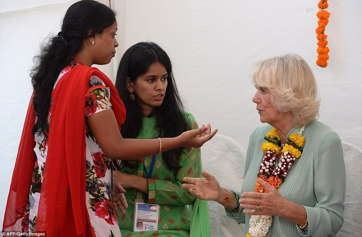 Educational: Camilla toured a display by the Vandana Foundation Micro-Finance Project which provides either free or low-cost loans to the city's poorest women to start their own businesses