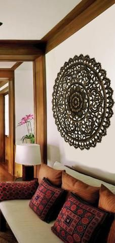 """Elegant Medallion Wood Carved Wall Plaque. Large Round Wood Carving Sacred Fig Leaf Wall Decor Panel. Rustic Home Decor 36"""""""