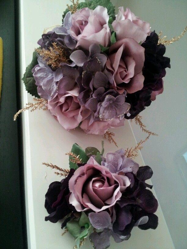 アートフラワーブーケ  紫大好き友達の結婚パーティへ