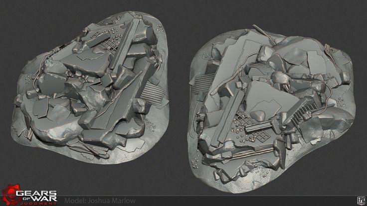 Gears of War Judgment Rubble, Josh Marlow on ArtStation at https://www.artstation.com/artwork/gears-of-war-judgment-rubble
