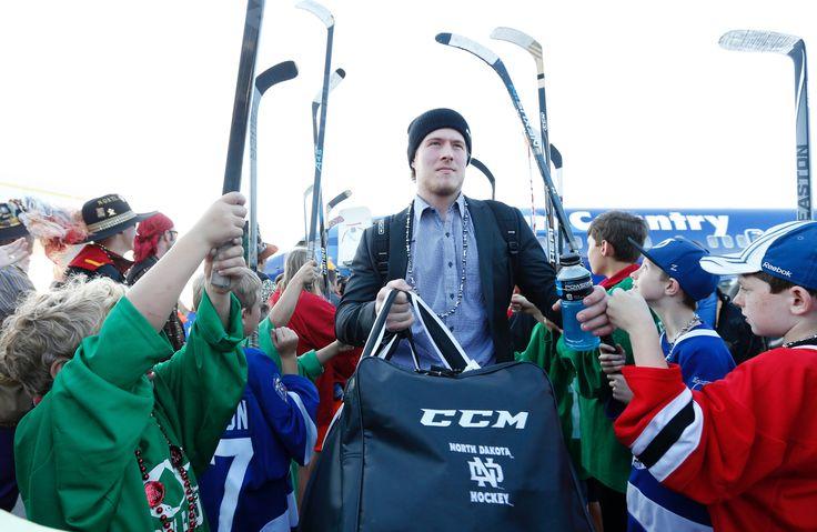 Brock Boeser arrives at 2016 Frozen Four.