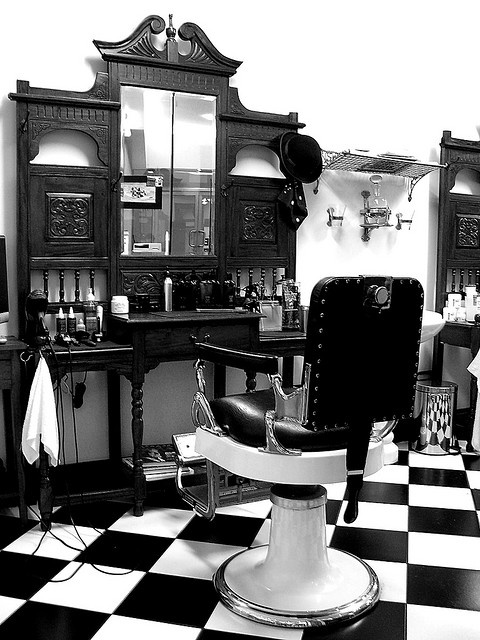 An old fashioned barber's chair in a barber's shop  Barber Shop (Monochrome) by Craig Jewell Photography, via Flickr