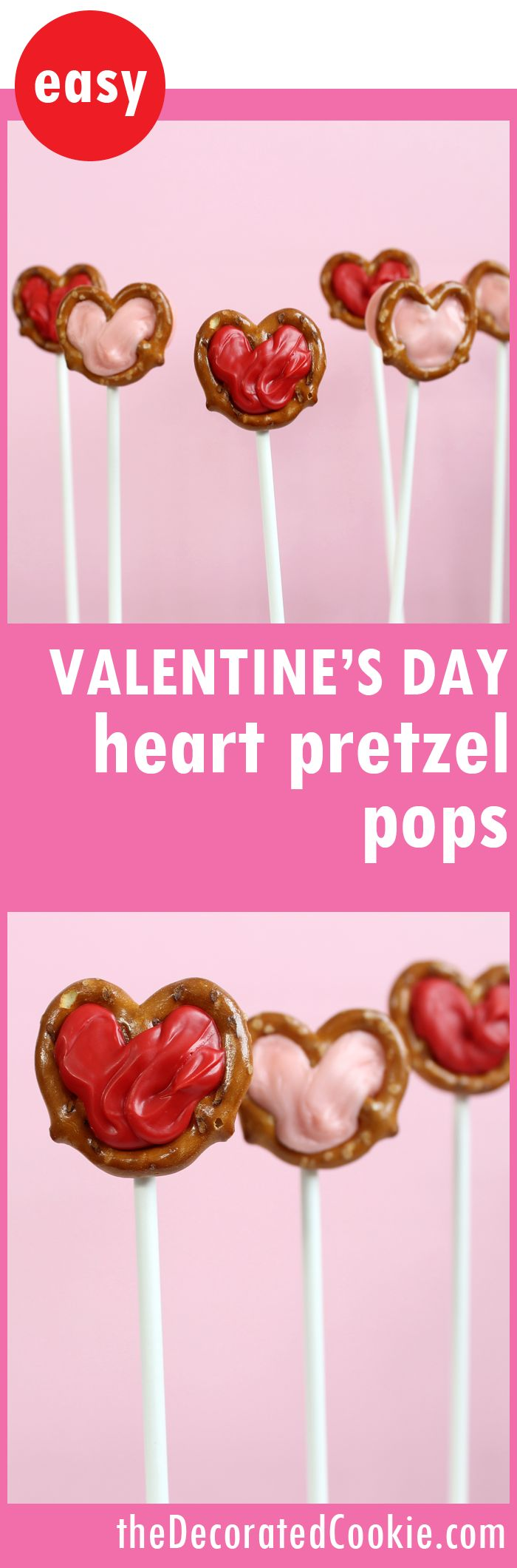 heart pretzel pops for Valentine's Day treats
