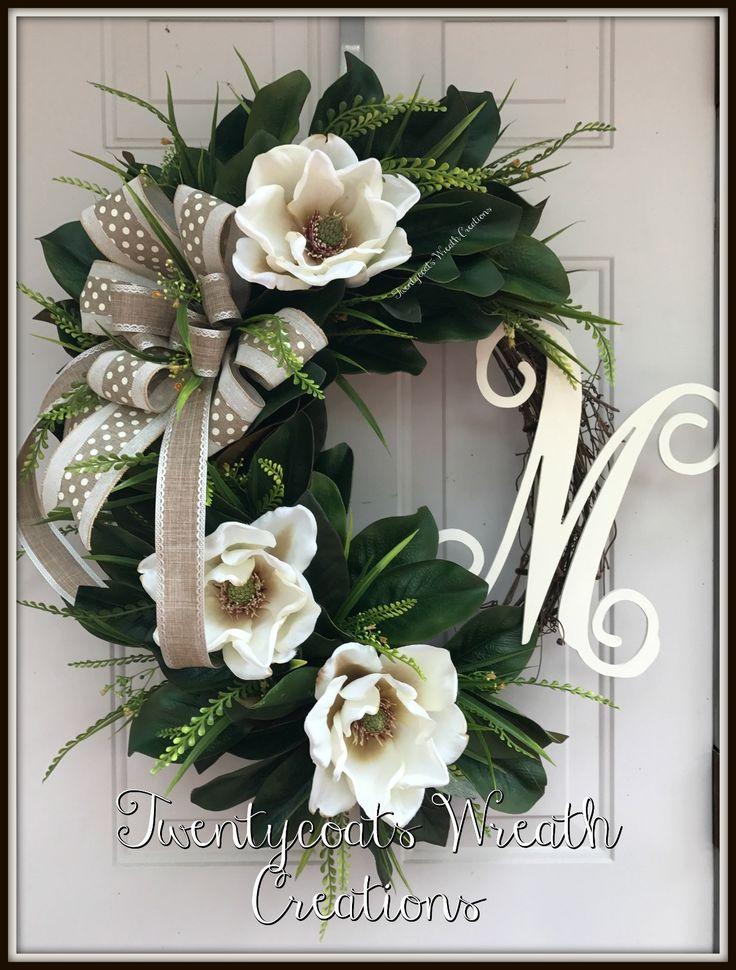 Magnolia grapevine wreath - farmhouse wreath by Twentycoats Wreath Creations (2017)