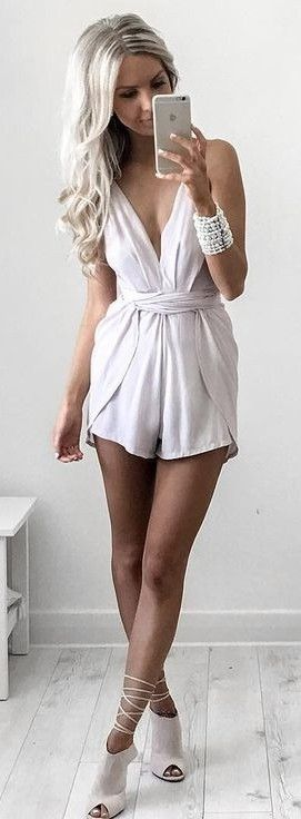#summer #style | Girly and Flirty White Playsuit                                                                             Source