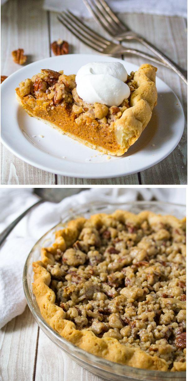 Bourbon Pumpkin Pie with a Salted Brown Butter Pecan Streusel pumpkin desserts