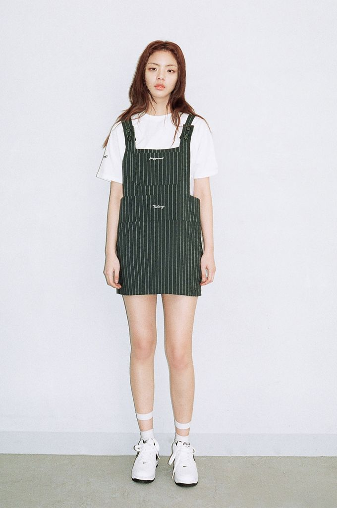 We Are Selecters · GREEN STRIPED SUSPENDER DRESS by O!Oi