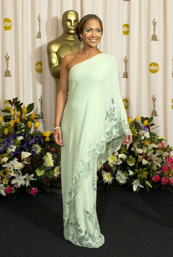 J-Lo in a mint green formal gown at the Emmys in 2003.
