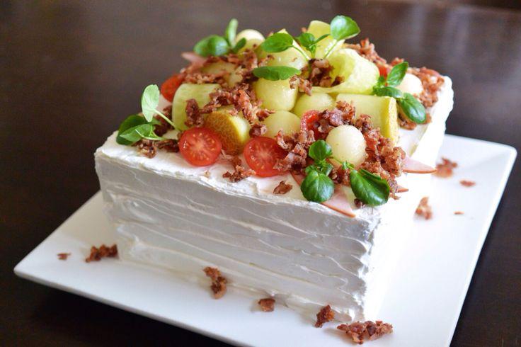 Scandinavian savory sandwichcake. Bacon and honeydew. From cutiepie.fi