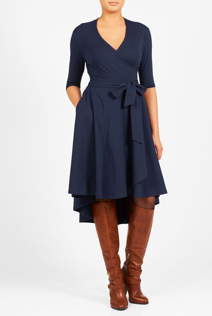 Wal g wrap detail dress with metallic stripe in blue navy lyst - High Low Hem Cotton Knit Wrap Dress