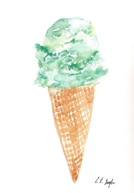 Minze-Eis, Original Aquarellzeichnung, 9 x 12, Sommer, Essen, Festlichkeit, Karneval