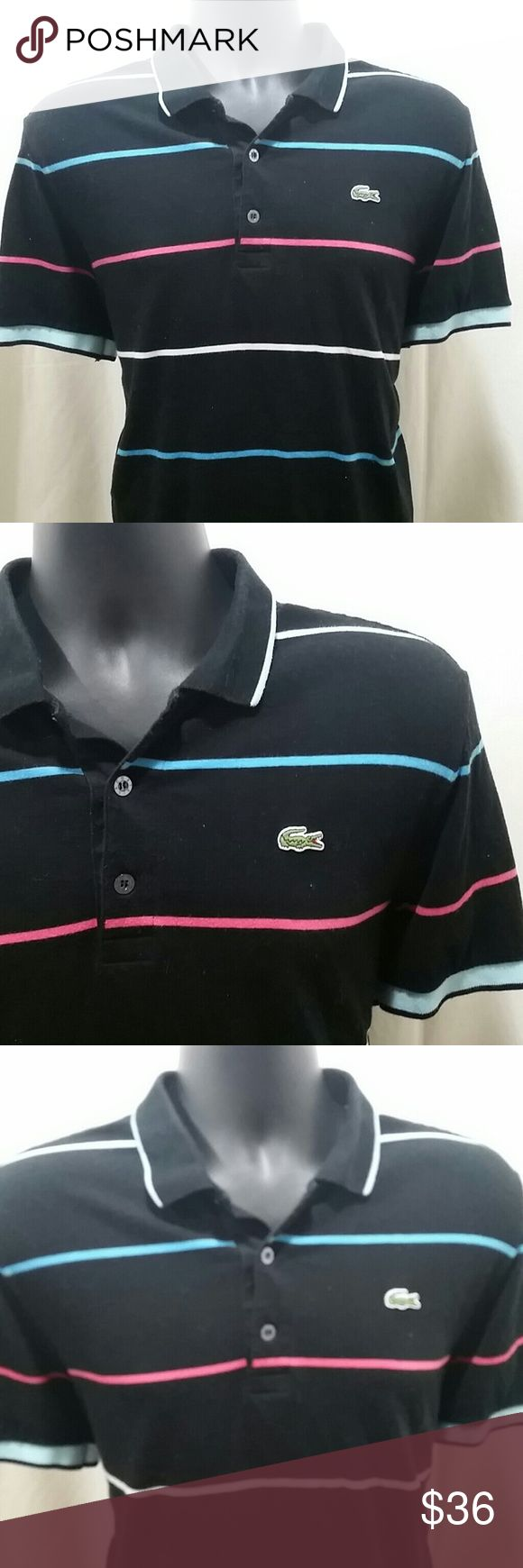 LACOSTE SPORT Striped Polo Shirt Size 5 Handsome LACOSTE SPORT Polo Shirt,  in black with blue,  red, and white stripes.   This Shirt is a size 5, which equates to a size Large.   This LACOSTE SPORT Polo Shirt is in excellent condition. Lacoste Shirts Polos