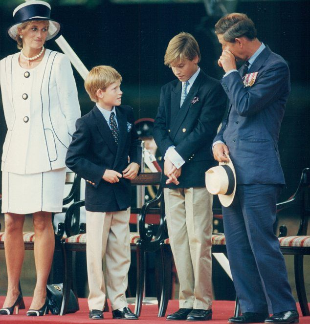 Royal ties: Diana in 1995 on the VJ Day 50th Anniversary with sons Harry, William and ex-husband Prince Charles