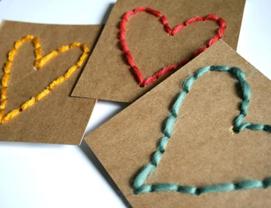 twine embroidered card