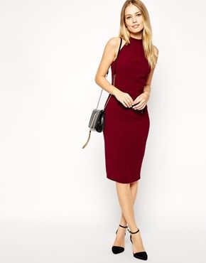 Enlarge ASOS Pencil Dress in Crepe with Bow Back Detail