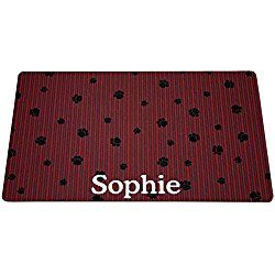 Drymate Red & Gray Stripes Personalized Dog Placemat, Medium