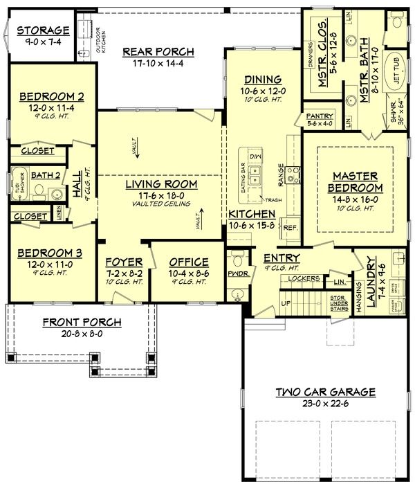 Craftsman Style House Plan - 3 Beds 2.50 Baths 2004 Sq/Ft Plan #430-140 Floor Plan - Main Floor Plan - Houseplans.com