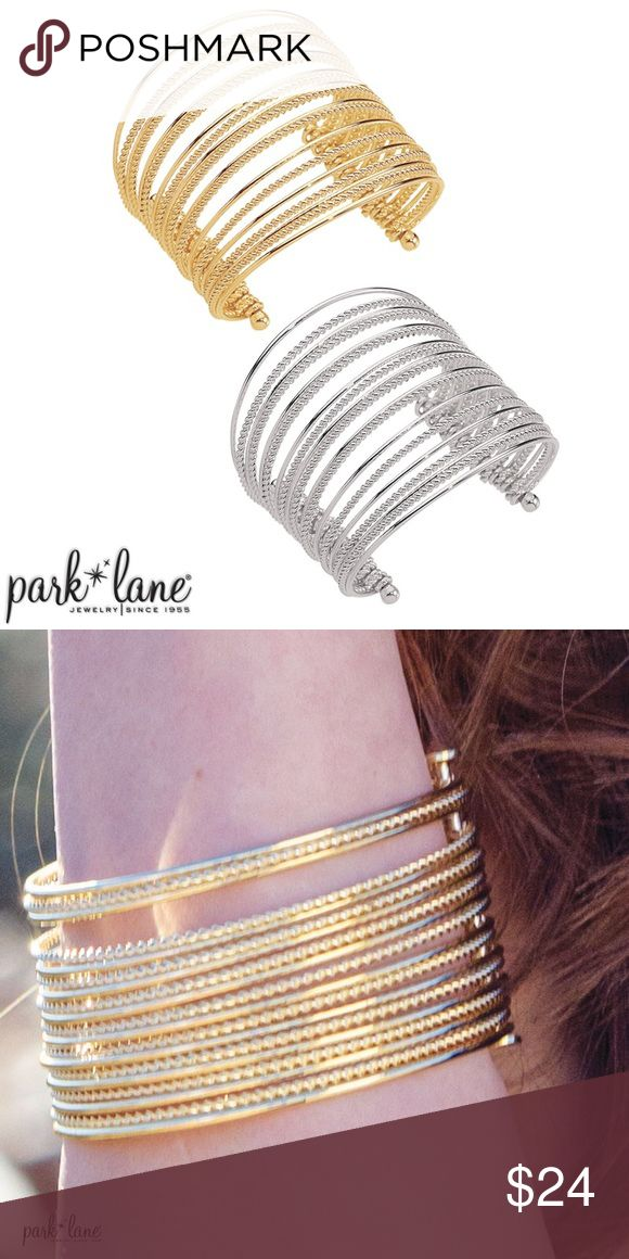 FLAIR BRACELET FLAIR BRACELET  Nineteen flexible coils alternating between cable and smooth texture, create the ultimate spectacular bold cuff. And because Flair bracelet is available in silver and in gold, you will always look armed and fabulous! Available in both gold-tone and silver-tone. Park Lane Jewelry Bracelets
