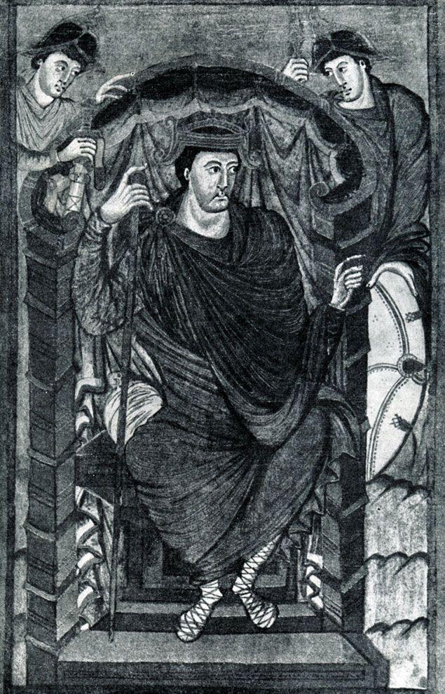 175.  Король    Лотарь.    Миниатюра    Евагелия Лотаря. Из Тура; около 840 г. Париж, Национальная библиотека.