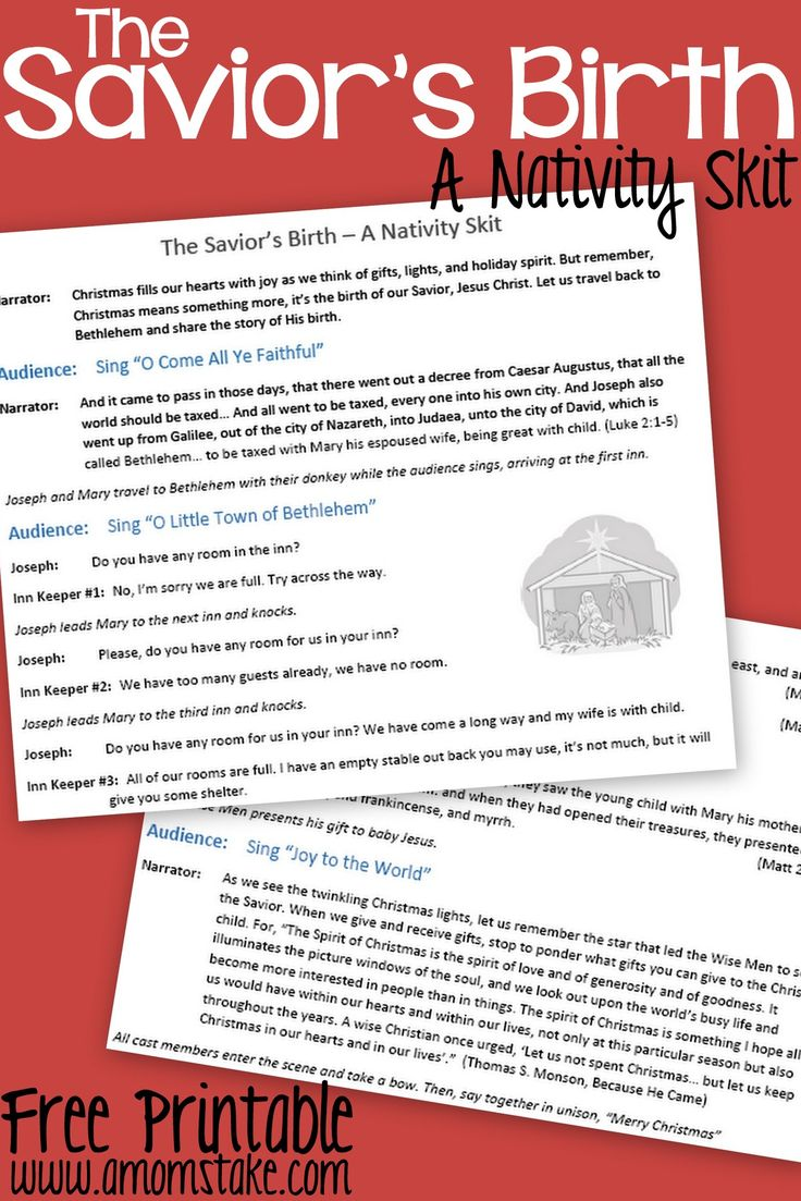 Free printable Nativity Skit to act out the birth of the Savior Jesus Christ - a fun activity for Christmas with the Kids