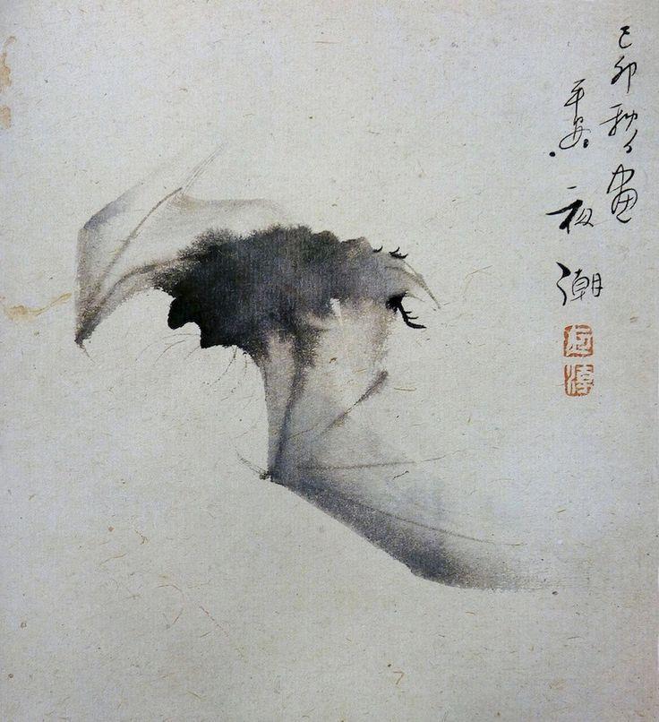 "Yashô (Japanese , 1782-1825) , ""Bat in Flight"". Ink on paper"