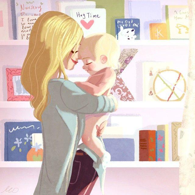 Sunday hugs #illustration #draw#drawing #family #hug#cute#mother#familyportrait…