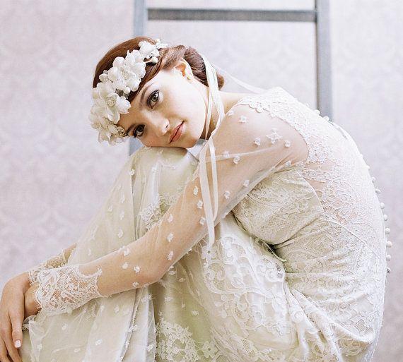 Bridal silk flower crown with ribbon tie veil - La Fleur Style no. 1958