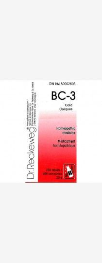 Dr.Reckeweg BC-3 Colic Colic is sharp abdominal pains that result from spasms or obstruction of certain organs or structures, especially the intestines, uterus, or bile ducts. Such pain is attended usually by constipation.