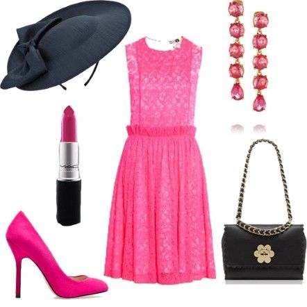 Pink lace dress, navy fascinator, Mulberry bag with floral clasp, pink court shoes and Oscar de la Renta crystal pink earrings.