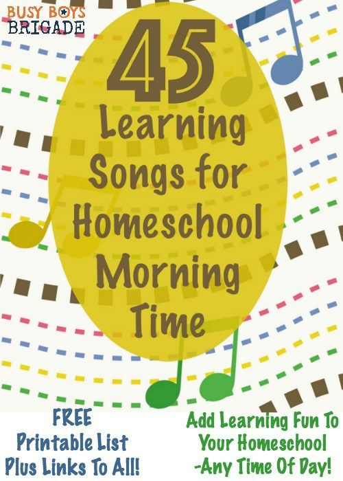 Get your free printable list of 45 Learning Songs for your Homeschool Morning Time-or any time of day! Songs provide an excellent way for multiple learning styles to learn & review important educational concepts. Use during your homeschool morning gathering time as a great way to practice concepts & have learning fun.