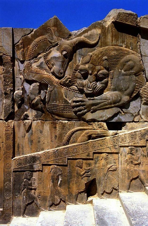 Persepolis Citadel - Lion Attacking Bull Relief.