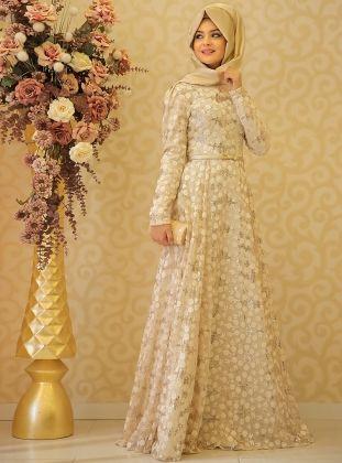 Kubra Evening Dress - Beige - Pinar Sems
