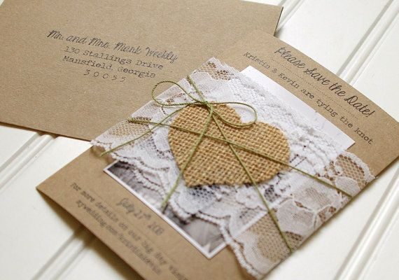 Burlap and Lace Save the Dates: Unique Handmade Rustic Kraft, Lace, and Burlap Photo Invitations on Etsy, $3.25