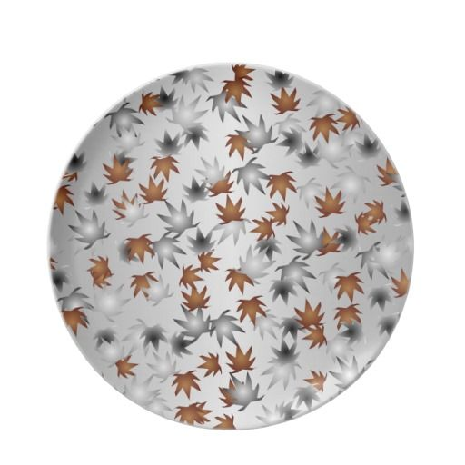 Silver and Copper Winter Leaves Plate