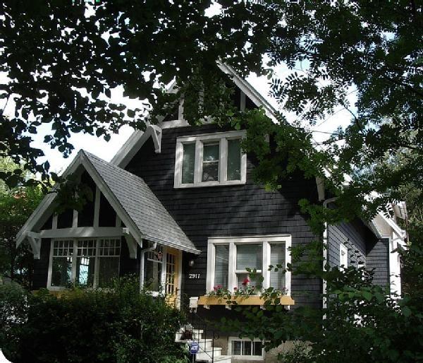 black on black cottage | Black Cottage, White Trim