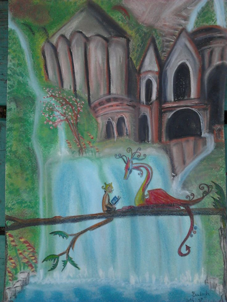 Sárkányos fantázia; Dragon fantasy art. Pasztell 30x45 papír. Artist: Balogh Krisztina