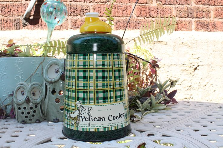 Vintage Pelican Cooler, Picnic Jug, Insulated Thermos, Green Yellow Tan Plaid, Hazel Atlas Glass Mason Jar Inside, Camping, Tail Gate Jug by AVintageWanderer on Etsy https://www.etsy.com/listing/159921964/vintage-pelican-cooler-picnic-jug